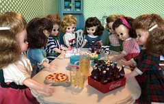 3. Time to sing (Foxy Belle) Tags: doll vintage tiny betsy mccall dining room party birthday diorama scene dollhouse food cake rement lori