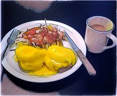 Eggs Benny (plismo) Tags: plismo food meal plate knifefork eggsbenny knife fork dots art artwork illustration eggsbenedict eggs benedict americanbreakfast american breakfast brunchdish englishmuffin hollandaisesauce hollandaise poachedegg coffee florida