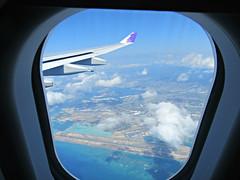 overview of HNL (kenjet) Tags: phnl hawaii hnl honoluluinternationalairport danielkinouyeinternationalairport onboard inflight ha hal hawaiian hawaiianairlines airbus a332 332 a330 a330200 a330243 n373ha kukalaiehu flugzeug aviation airline airliner windowseat aerial view fromthewindow airport reef ocean weather cloud clouds air blue sky wing winglet plane jet