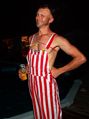 Striped Overalls, Rockin' It. (detopics) Tags: portraits people stripes party overalls pool night flash flashphotography portrait faces