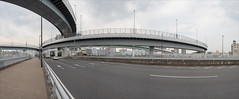 ariake-1910-4-ps-w (pw-pix) Tags: interchange intersection high fivestoreyshigh bridge bridges overpass expressway tollroad onramp offramp entry exit curves curved trucks cars vehicles supports piers piles steel concrete buildings sky clouds poles lights panorama stitchedpanorama abovewanganroad above357road metropolitanexpresswaybayshoreroute ariake kotoku tokyo tokyoto japan
