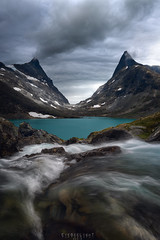 The two towers (Ron Jansen - EyeSeeLight Photography) Tags: norway summer mountain peak peaks tower water movement clouds weather dynamic moody blue chimney smoke patience depth nikond810 nikonafsnikkor1424mmf28ged haida polarizer cpl circularpolarizingfilter o