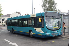 AMN 3867 @ Cannock bus station (ianjpoole) Tags: arriva midlands volvo b7rle wright eclipse urban ke05fmm 3867 working route 26 pye green circular