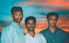 Group selfie with my last filmroll (2004) (Nithi clicks) Tags: sunset portrait