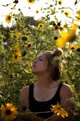 Shadows and rays. (Caroleyene) Tags: teenage youngwoman summer sunflowers fragility sunlight