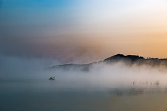 Foggy Morning Kayaking Colors (matthewkaz) Tags: kayak kayaker kayaking sunrise fog mist lake limelake water sky boat reflection reflections weather cedar maplecity leelanau michigan puremichigan summer 2017