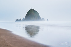 Haystack Rock (nybblr) Tags: beach oregon pacificnorthwest pnw shore sand rock mountain foggy misty ocean overcast cloudy breathtakinglandscapes