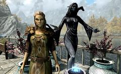 Elohim Isla Rey (Rain Love AMR) Tags: skyrim screenshot screencap game pc altmer highelf nocturnal statue gold golden daedricprince