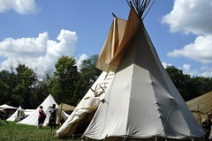 Encampment shelter (D. C. Wilson) Tags: pioneer encampment tent shelter historic ohio iron tools antique sky tepee