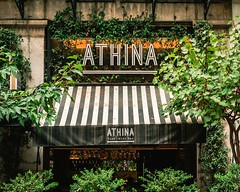 Athina bar (giorgosAnk) Tags: athens greece athina bar wine trees green vines city town street streetphotography building exterior evening coffee cafe store shop facade