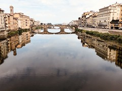 Bridges of Florence (4439E) (Rick Payette) Tags: iphone8plus italy florence firenze reflection arno river bridges