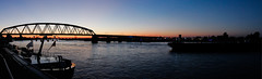 The riverfront in Nijmegen (cluffie598) Tags: nijmegen sunset snelbinder brug bridge boat river waal