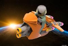 05 RETRO SPACE HERO'S SPACEBIKE - Front Perspective Art (Nuno_0937) Tags: lego ideas classic space spaceship ship moc retro hero minifigure