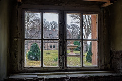 view out of the window to the abandoned fairy tale castle garden (Peter's HDR hobby pictures) Tags: petershdrstudio hdr lostplace abandonedplace abandoned abandonedcastle verlasseneplätze verlassenesschloss verlassen windows abandonedcastlegarden fenster verlassenerschlossgarten