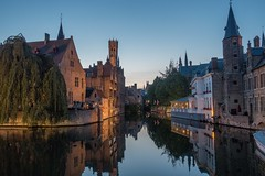 Twilight On The Canal - Bruges, Belgium-01727 (gsegelken) Tags: twilight lights city water reflection belgium bruges vantagetravel canal night sony rx100m4