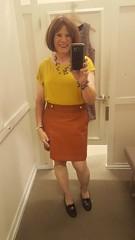 Fall is almost here (krislagreen) Tags: tg transvestite transgender cd crossdresser skirt pleather brown yellow redhead femme feminiized feminizaton