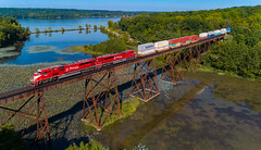 The Indiana Railroad (benpsut) Tags: dji emdsd90mac inrd inrd9004 inrd9005 inrdindianapolissub indianarailroad lake lemonlake sky aerial cove drone railroad reflection swamp trains trestle unionville indiana unitedstates us