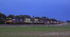 NR88 and NR4 race PM5 into Dooen on a dark Sunday evening (bukk05) Tags: nr88 railpage:class=37 railpage:loco=nr88 rpaunrclass rpaunrclassnr88 nr4 nr nationalrail nrclass wimmera westernstandardgaugeline wagons explore export engine railway railroad railpage rp3 rail railwaystation railwaystations ruralcityofhorsham train tracks tamron tamron16300 trains overcast photograph photo pn pacificnational pm5 loco locomotive landscape horsepower hp horsham ge ge7fdl16 flickr freight diesel dooen station standardgauge sg sky winter signal australia artc canon60d canon container cv409i zoom victoria vr victorianrailway vline victorianrailways 2018 mainline sunday sadilers vans