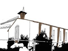 Die ehemalige Garnison Kirche, Knielingen, Karlsruhe, September 2018 (stevefaradaysketches) Tags: urbansketch urbansketchers usk inksketch inkdrawing illustration denkmal listed demolition petition save knielingen karlsruhe church 1950s