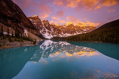 Moraine Lake in Banff National Park, AB (KJRphotoz) Tags: banffnationalpark banff mountain sky water tree wood forest lake serene sunrise reflection canada canadianrockies landscape alberta moraine morainelake