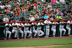 'CATS DUGOUT (MIKECNY) Tags: joebrunostadium troy tricityvalleycats dugout astros minorleague nypennleague team teammates