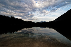 Clouds reflection / Wolkenspiegel (Steffen Schobel) Tags: hintersee reflection mirror spiegelung see lake landschaft landscape clouds wolken sunset sonnenuntergang silhouette lakeside seeufer reflektion ramsau wideangle weitwinkel hohergöll mountains berge alpen alps water wasser