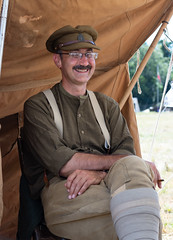 Padre (Mike South Photography) Tags: portrait padre uniform khaki british 10th essex regiment great war living history military army puttees smoking cigarette moustache gentleman ww1 ffw first world encampment laughing shirt braces firstworldwar worldwarone livinghistory historical reenactment