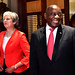 President Cyril Ramaphosa and Prime Minister Theresa May during the Handover Ceremony of the SS Mendi Bell at Tuynhuys, 28 Aug 2018