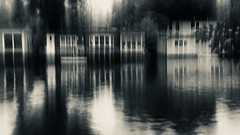 Riverbank VIII (Zara.B) Tags: riverbank river thames houseboats intentionalcameramovement icm impression abstract iphone blackandwhite bw monochrome silvertone experimenting slowshutterapp reflections windows
