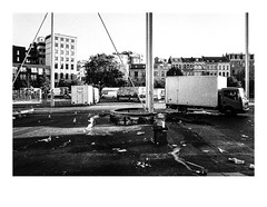 161015_b_00007_OM2n-ilford-delta-400_antwerpen_theaterplein 3/8 (A Is To B As B Is To C) Tags: aistobasbistoc b belgië belgium antwerpen antwerp theaterplein vogelenmarkt olympus om2n analog film ilford delta 400asa bw blackwhite blackandwhite monochrome city cityscape citylife urban urbanism urbanrenewal architecture secchivigano canopy columns truck markt market people street streetphotography trash garbage vuil