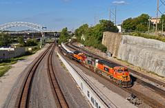 "Southbound Transfer in Kansas City, MO (""Righteous"" Grant G.) Tags: bnsf railway railroad locomotive prlx kcs kansas city southern missouri progress rail atsf south southbound transfer train trains yard job"