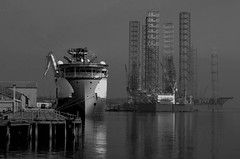 the Harbour (johnny_9956) Tags: dundee scotland harbour water sea ship boat rig oilrig blackandwhite monochrome pier canon