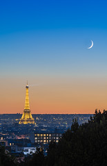 The lady & the moon (aurlien.leroch) Tags: france paris toureiffel eiffeltower night skyline sunset moon nikon bluehour