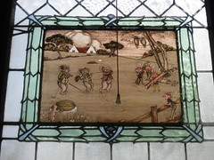 The Picture Panel of the Second Ida Rentoul Outhwaite Stained Glass Children's Library Window - George Street, Fitzroy (raaen99) Tags: idarentoulouthwaite idarentoul idaouthwaite artist childrensbookillustrator illustrator 1926 1920s painter idarentoulouthwaitestainedglasswindows idarentoulouthwaitestainedglass library fitzroychildrenslibrary stmarkschildrenslibrary readingroom stmarktheevangelistchildrenslibrary handpainted childrensliterature fairytale fairytales childrensstory childrensstories australianliterature australianchildrensliterature fairy fairies faerie faeries elves elf story australianfairystory australianartist australianillustrator australianchildrensillustrator illustration elvesandfairies elvesfairies fairyland bookillustrator bookillustration literature childhood stmarktheevangelist stmarks stmarksfitzroy stmarksanglican churchofengland anglicanchurch anglican fitzroychurch fitzroy georgest georgestreet church placeofworship religion religiousbuilding religious melbourne koala koalabear stainedglass stainedglasswindow window