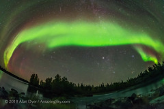 Sweeping Arc of the Northern Lights (Amazing Sky Photography) Tags: auroraborealis northernlights yellowknife tibbittlake nwt ingrahamtrail arc northernsky bigdipper capella auriga taurus aldebaran pleiades fisheye 12mm rokinon meteor northeast
