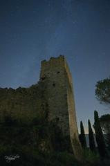Eretti al cielo (luc.feliziani) Tags: castel ruine zocco umbria trasimeno cipressi toscana italy stars sky milkyway night longpause longexposure nikon 2035
