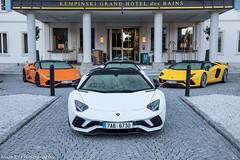 Lamborghini Trio (Nico K. Photography) Tags: lamborghini aventador s lp7404 yellow white roadster huracán lp6104 spyder orange nicokphotography supercars switzerland stmoritz