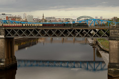 Number 9 Above The Tyne (Derbyshire Harrier) Tags: kingedwardviibridge 2018 autumn september 60009 dbs railway bridge rivertyne northeast reflections queenelizabethiibridge highlevelbridge railtour city tynebridge newcastleupontyne gateshead lnera4class462no60009unionofsouthafrica unionofsouthafrica thetalisman 519e1448newcastletotyness ecs eastcoastmainline a4 ukrailtours steam engine cityscape