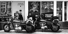 024693763801-105-On the Road With Harley Davidson-2-Black and White (Jim There's things half in shadow and in light) Tags: 2018 america mojavedesert nevada september southwest usa motercycle harleydavidson gasstation signs monochrome blackandwhite beer transportation indiansprings