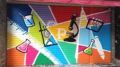 2018.07  高雄P&C科學教育中心鐵門 (kerr8510) Tags: taiwan kaohsiung kerr graffiti spray streetart paint vectorart science experiment 台灣 高雄 柯爾 街頭塗鴉 街頭藝術 鐵門塗鴉 牆面塗鴉 噴漆 彩繪 牆壁鐵捲門貨櫃 向量色塊 科學實驗 文理 文教機構