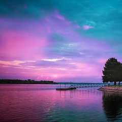 """""""It's a beautiful mornin' I think I'll go outside a while, An just smile..."""" (WWW.ROBERTBELLOMY.COM) Tags: branches trees suburbs water reflection reflections lake cloudy clouds sunrise sunset ifttt instagram"""