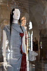Cloistered Reflections (Eddie C3) Tags: museumsart museums metropolitanmuseumofart cloistersmuseumandgardens jeanpaulgaultier reflections heavenlybodiesfashionandthecatholicimagination
