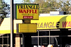 Holy Waffles, Batman! 2848 (Tangled Bank) Tags: roadside sign signage america american dixie south southern diner waffle restaurant jesus religion christianity god worship lord
