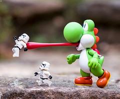 Yoshi Tongue Attack (Jezbags) Tags: yoshi tongue attack mario stormtrooper stormtroopers trooper troopers starwars run dinner nintendo macro macrophotography macrodreams macrolego canon canon80d 80d 100mm closeup upclose