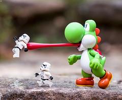 Yoshi Tongue Attack (Jezbags) Tags: yoshi tongue attack mario stormtrooper stormtroopers trooper troopers starwars run dinner nintendo macro macrophotography macrodreams macrolego canon canon80d 80d 100mm closeup upclose
