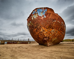 Rusty Shell (Doug.King) Tags: shipwreck ship boat derelict rusty decaying abandoned beach sand sky aground washedup instow devon