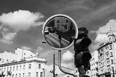 Mirror in the Sky 356 365 (ewitsoe) Tags: canoneos6dii city polska street warszawa erikwitsoe poland summer urban warsaw self mirror monochrome bnw blackanswhite cityscape life walkign me selfie