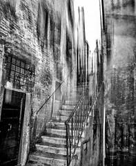 escalier vers le ciel (zventure,) Tags: voyage ville venise venice noiretblanc escalier flou file porte pierre fer ferforgé