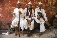 Varanasi (Dick Verton ( more than 12.000.000 visitors )) Tags: sitting man trio chai white people sit seated