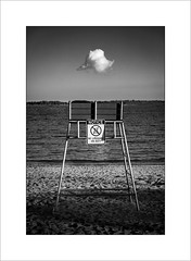 No lifeguard on duty (tkimages2011) Tags: beach lifeguard water sky cloud sand boston ma carson mono monochrome texture seat outdoor outside landscape sign notice